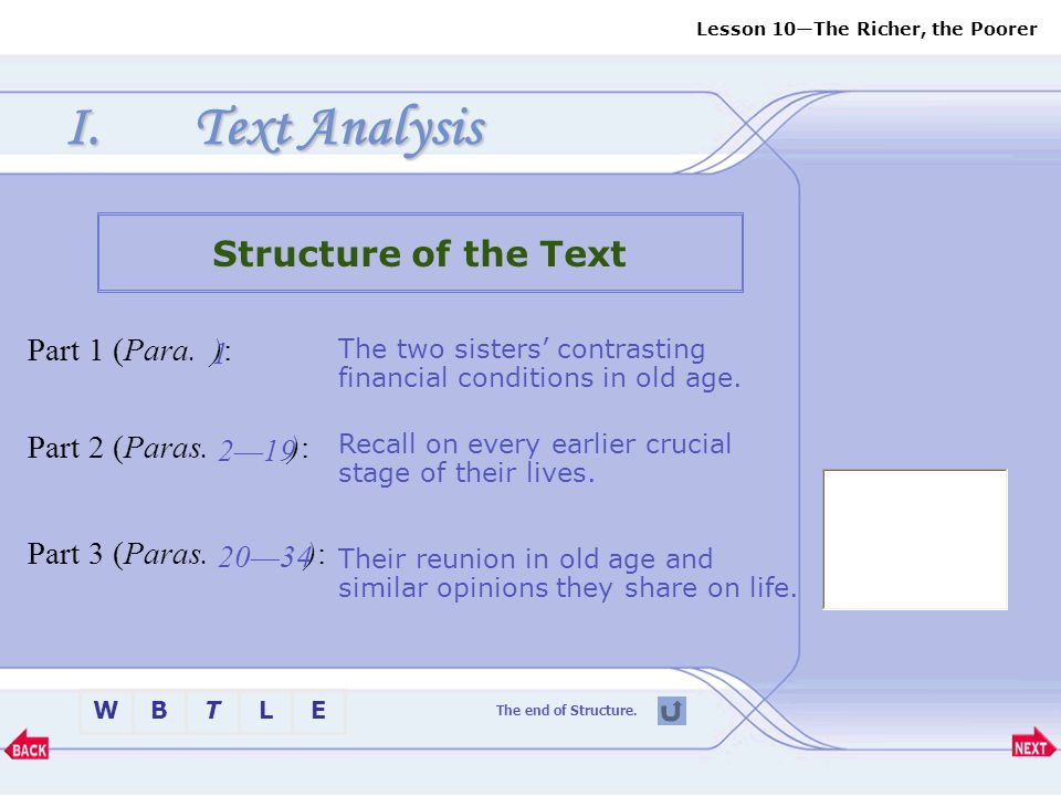 Text Analysis Structure of the Text Part 1 (Para. ): 1