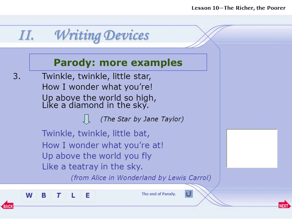 Writing Devices (The Star by Jane Taylor)
