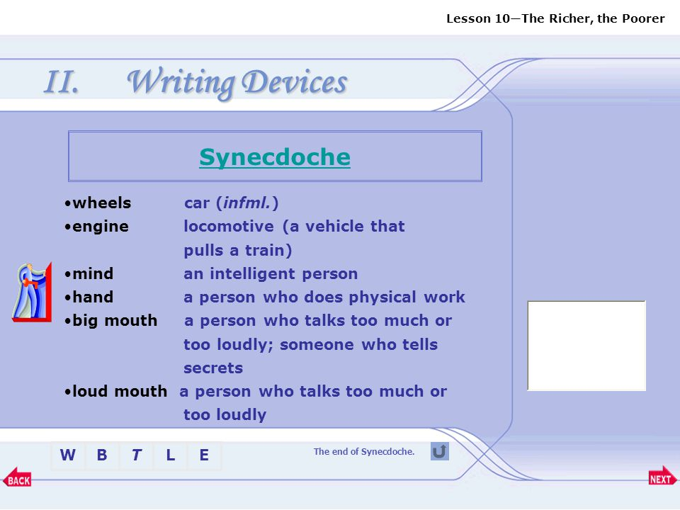 Writing Devices Synecdoche wheels car (infml.)