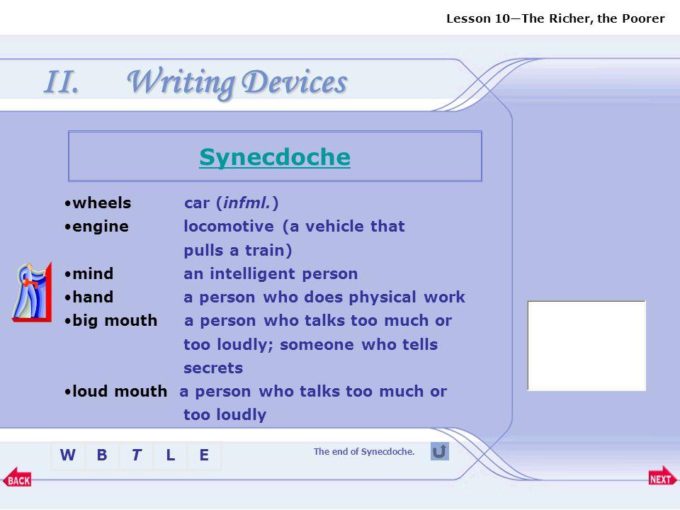 Writing Devices Synecdoche wheels car (infml.)