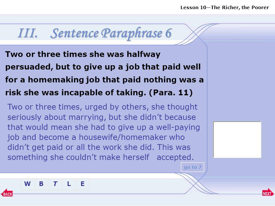 Sentence Paraphrase 6