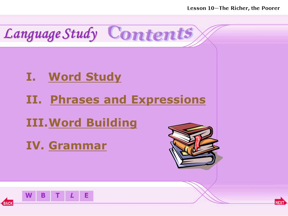 Language Study Contents Word Study Phrases and Expressions