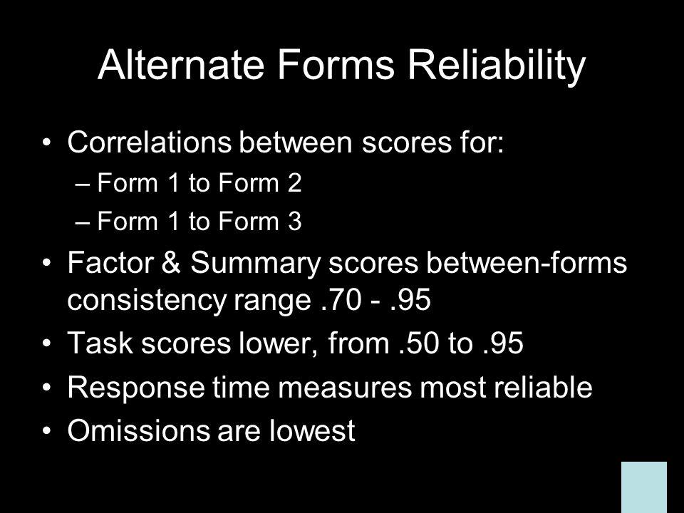 Alternate Forms Reliability