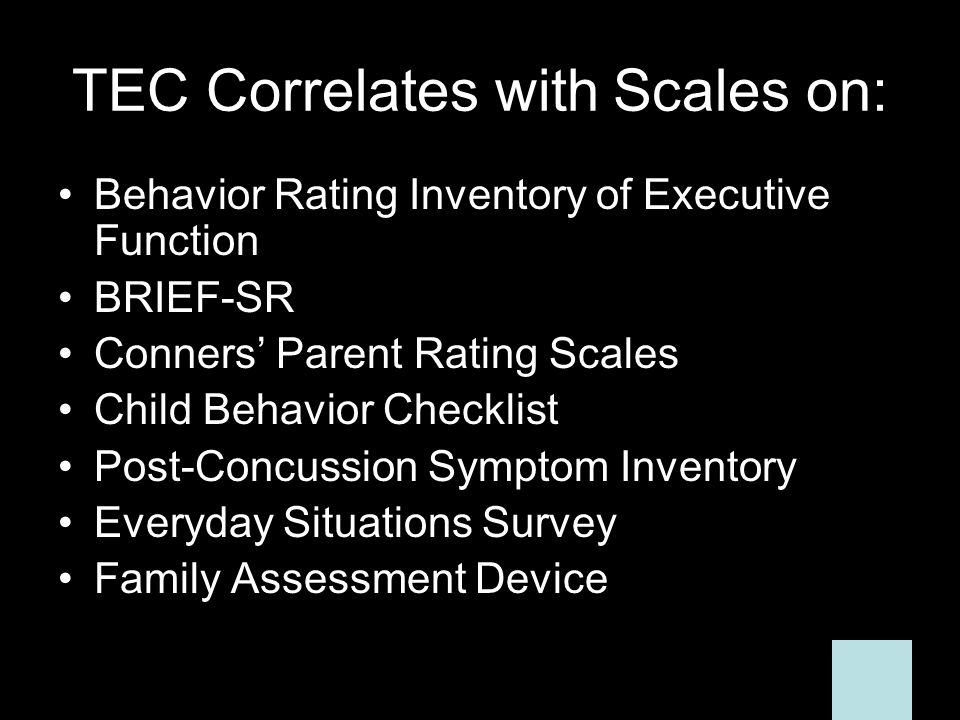 TEC Correlates with Scales on: