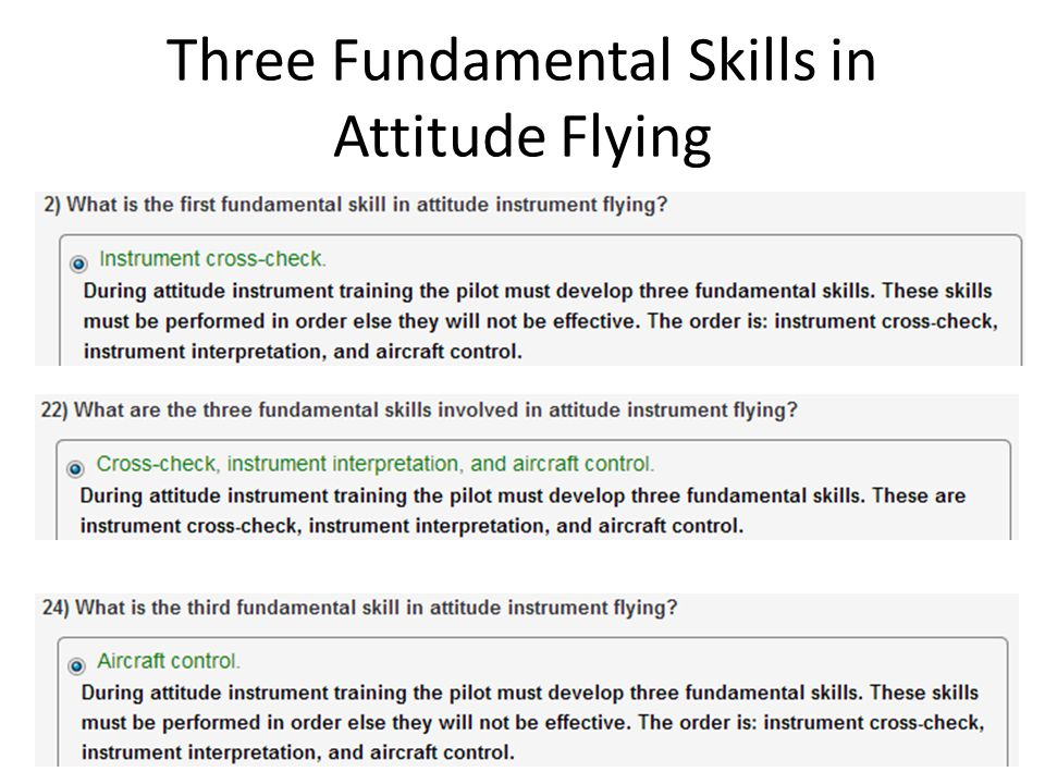 Three Fundamental Skills in Attitude Flying