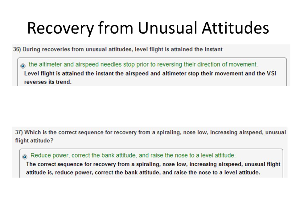 Recovery from Unusual Attitudes