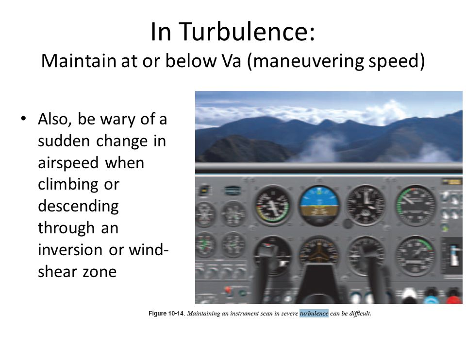 In Turbulence: Maintain at or below Va (maneuvering speed)