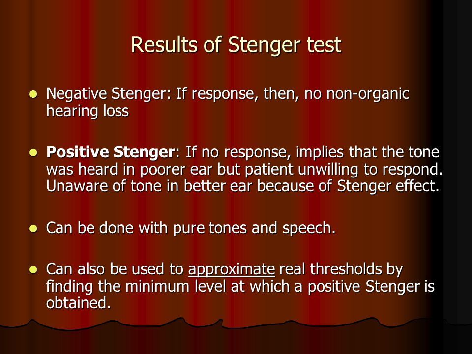 Results of Stenger test