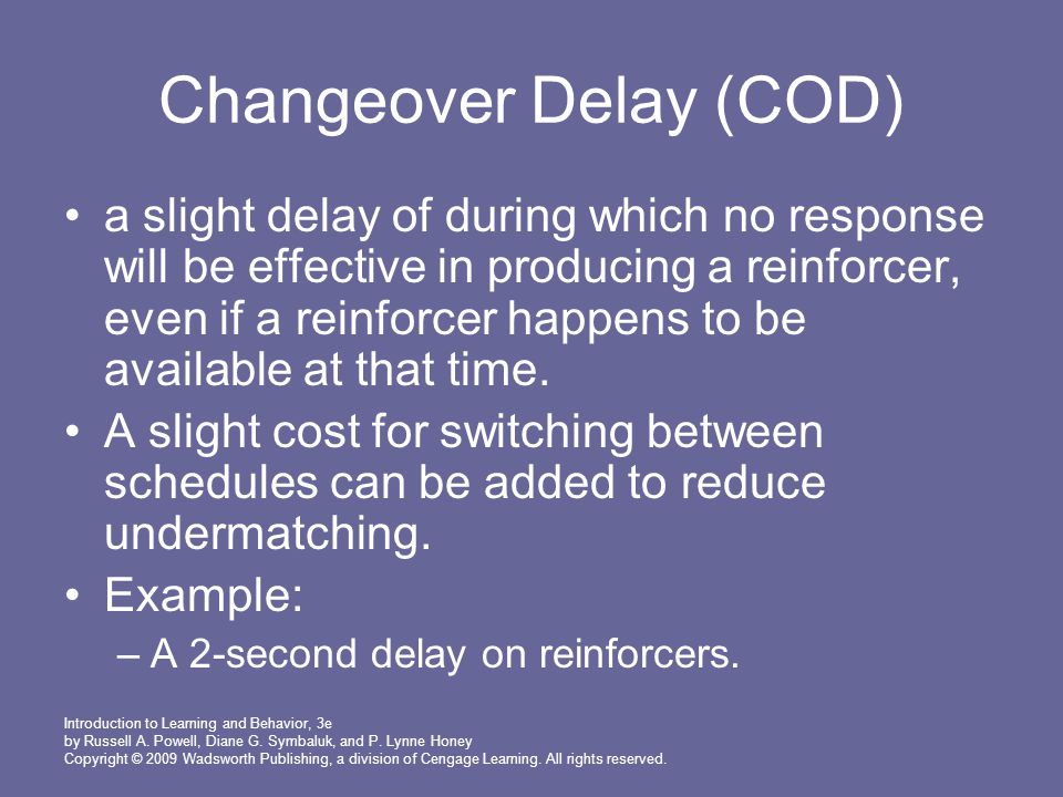 Changeover Delay (COD)