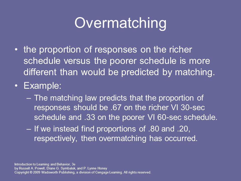 Overmatching the proportion of responses on the richer schedule versus the poorer schedule is more different than would be predicted by matching.