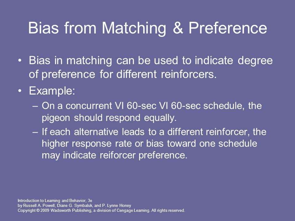 Bias from Matching & Preference