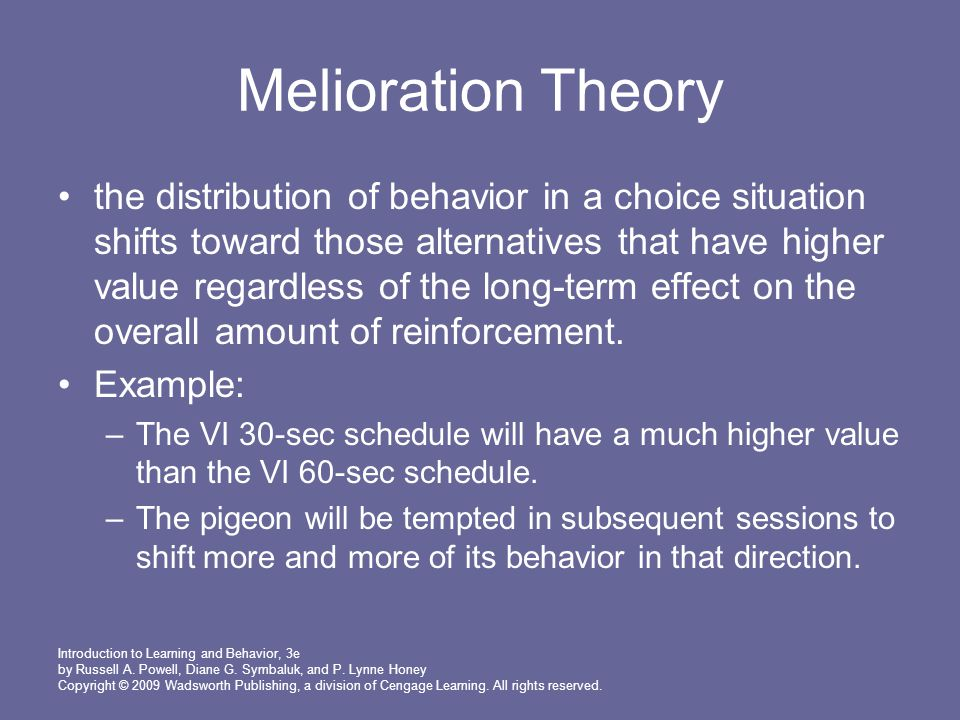 Melioration Theory