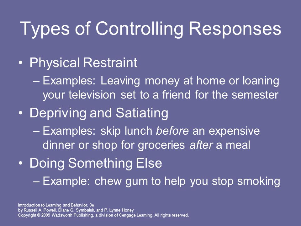 Types of Controlling Responses