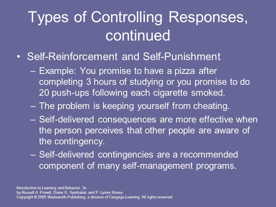 Types of Controlling Responses, continued