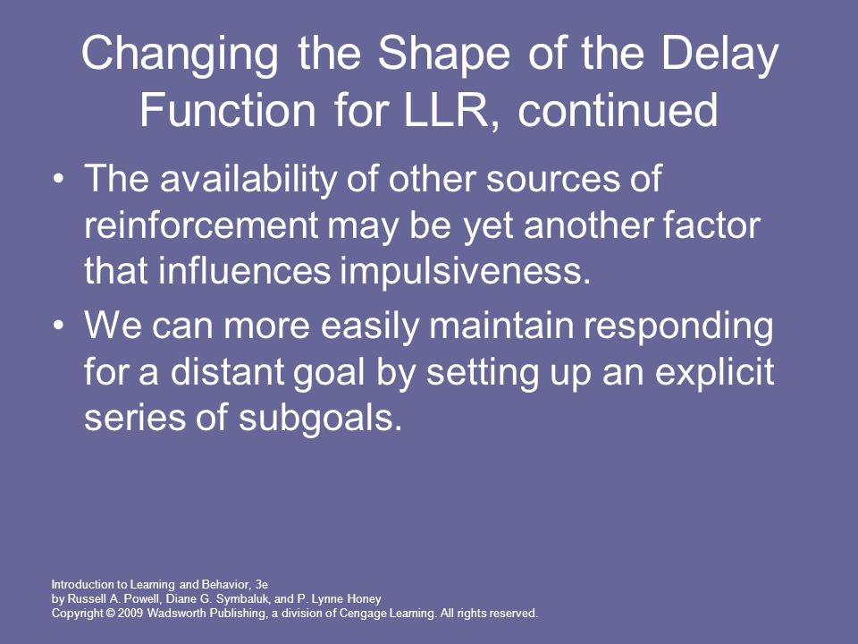 Changing the Shape of the Delay Function for LLR, continued