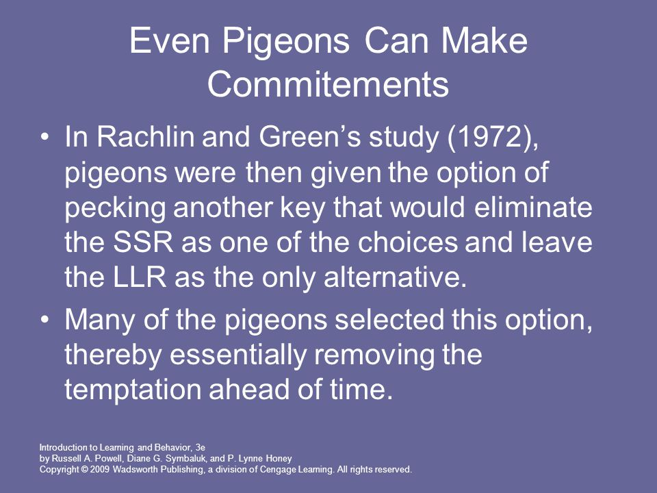 Even Pigeons Can Make Commitements