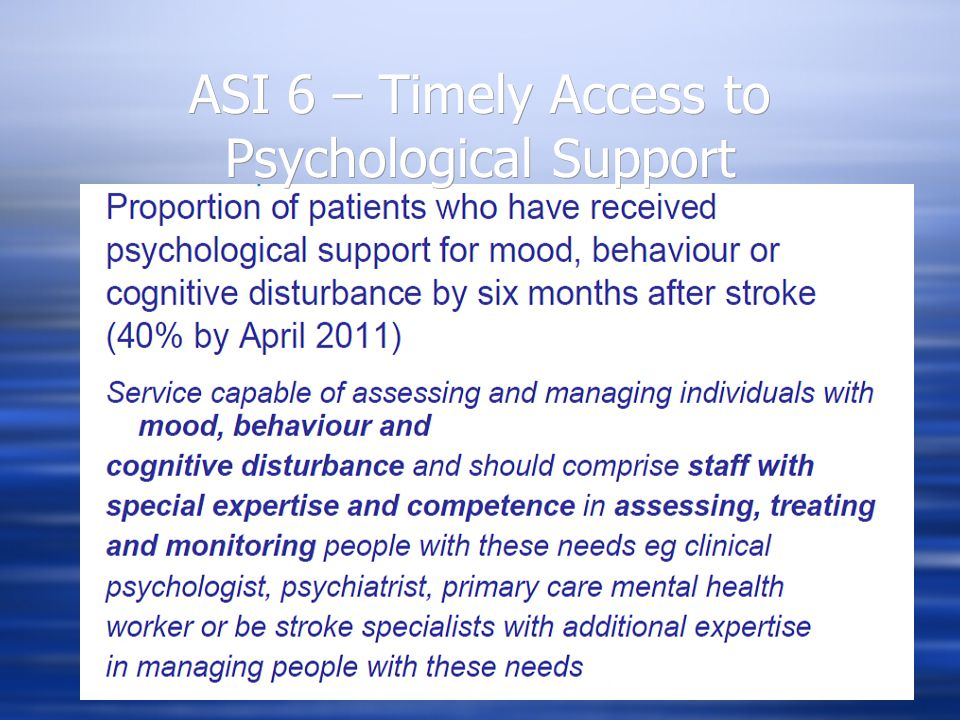 ASI 6 – Timely Access to Psychological Support