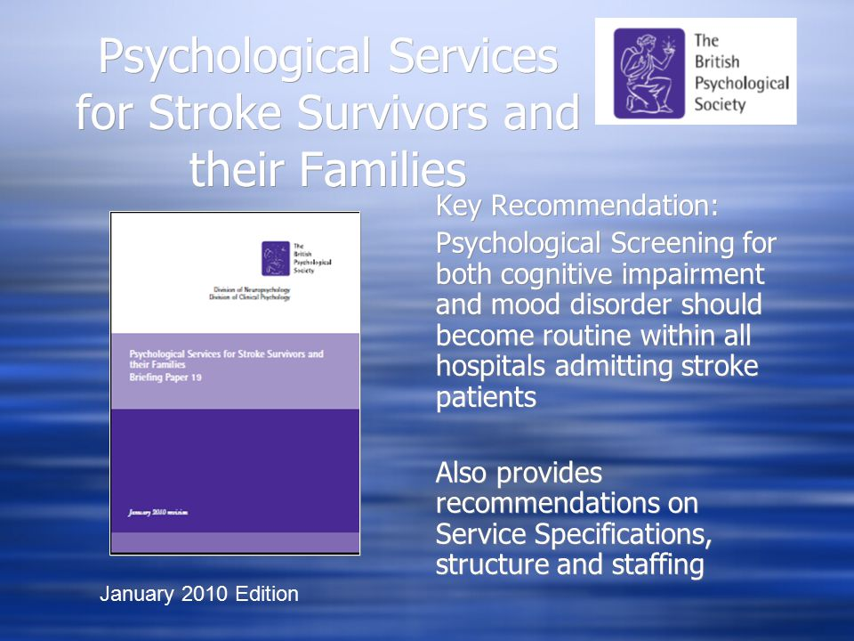 Psychological Services for Stroke Survivors and their Families