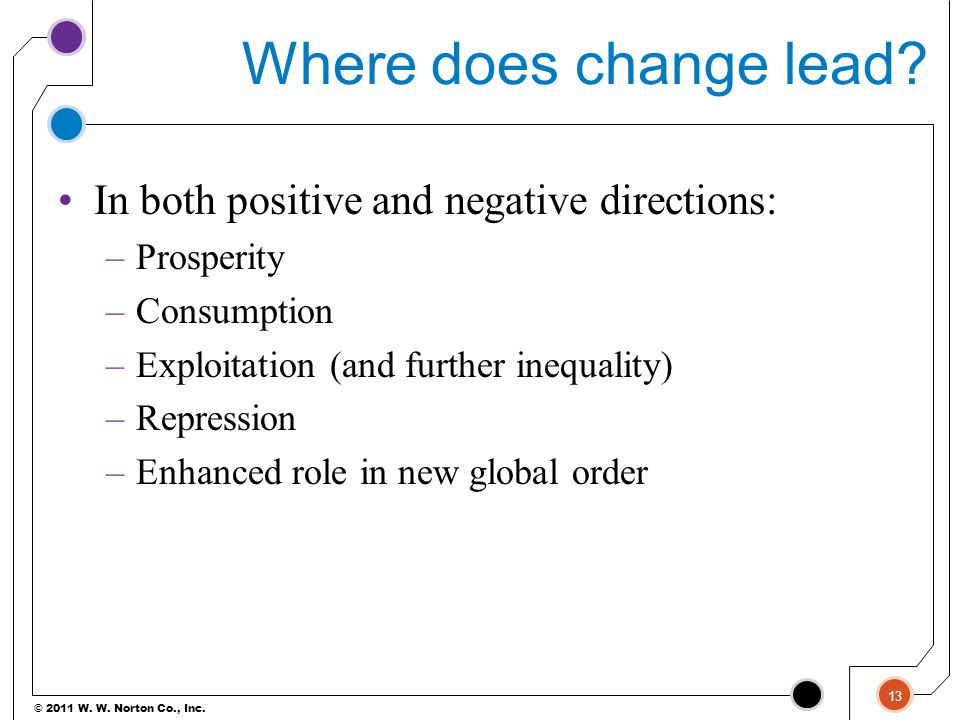 Where does change lead In both positive and negative directions:
