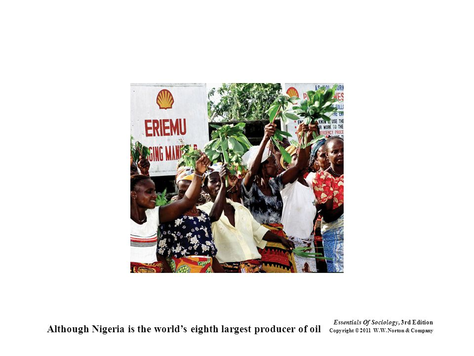 Although Nigeria is the world's eighth largest producer of oil