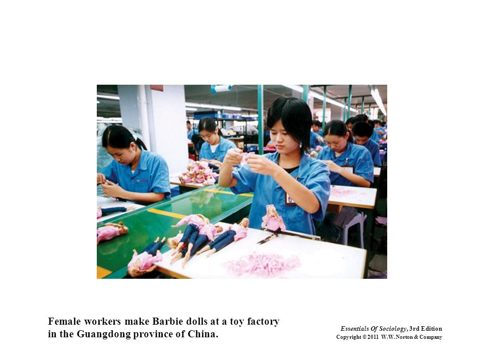 Female workers make Barbie dolls at a toy factory