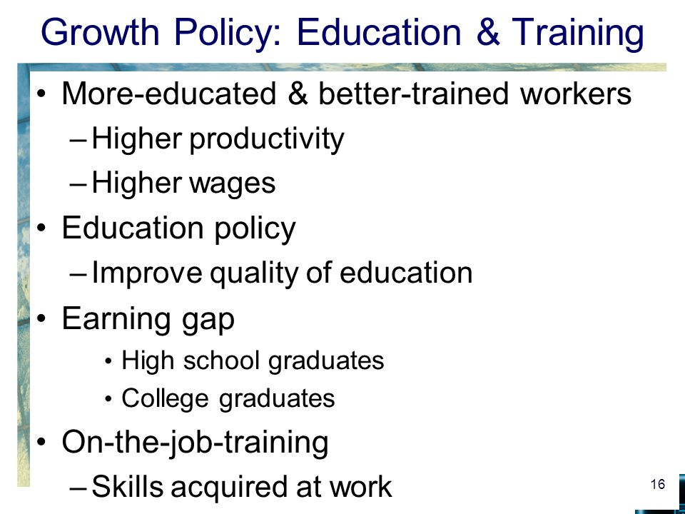 Growth Policy: Education & Training