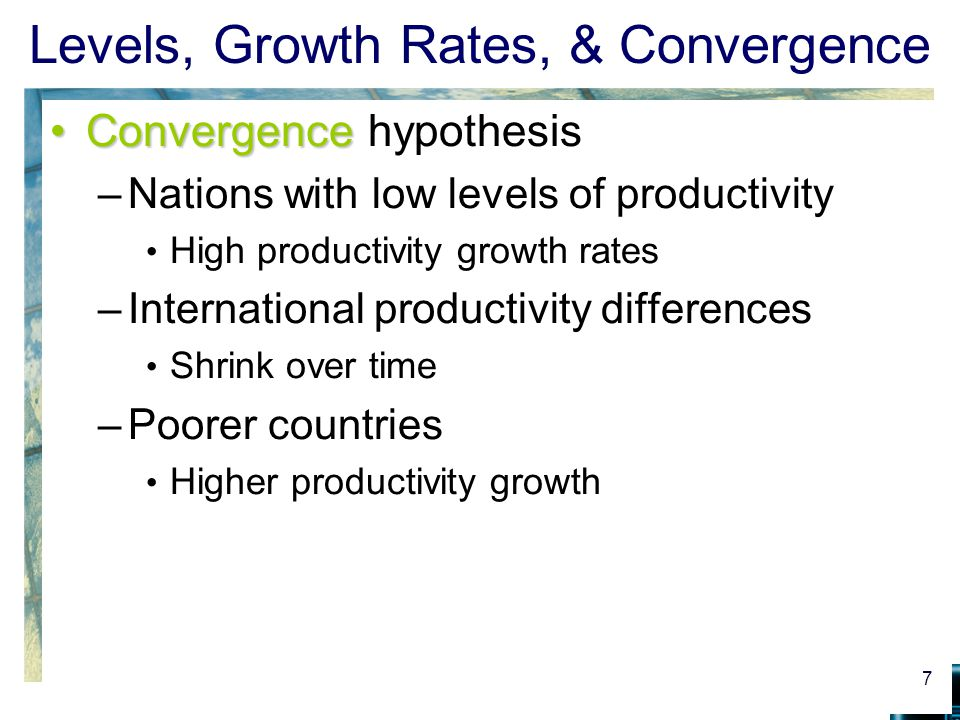 Levels, Growth Rates, & Convergence