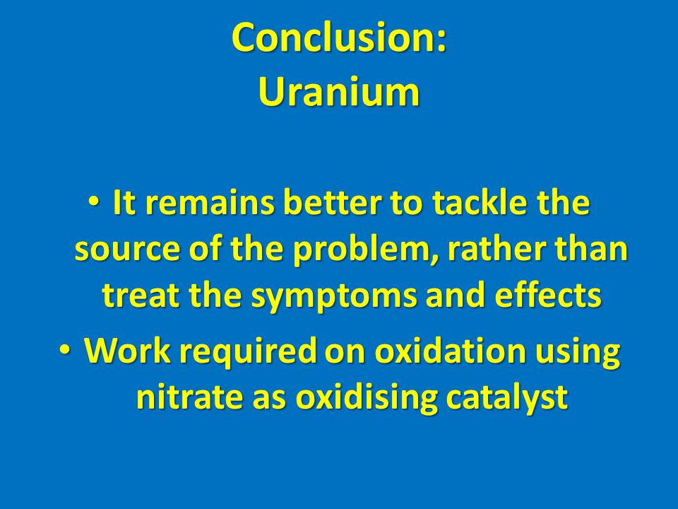 Work required on oxidation using nitrate as oxidising catalyst