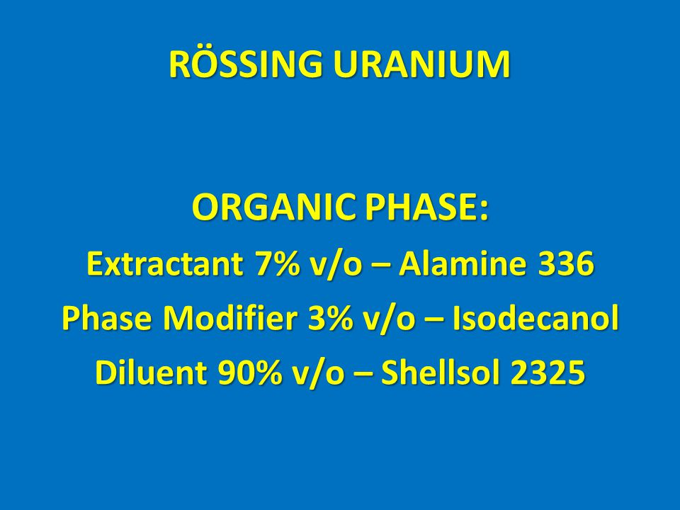 RÖSSING URANIUM ORGANIC PHASE: