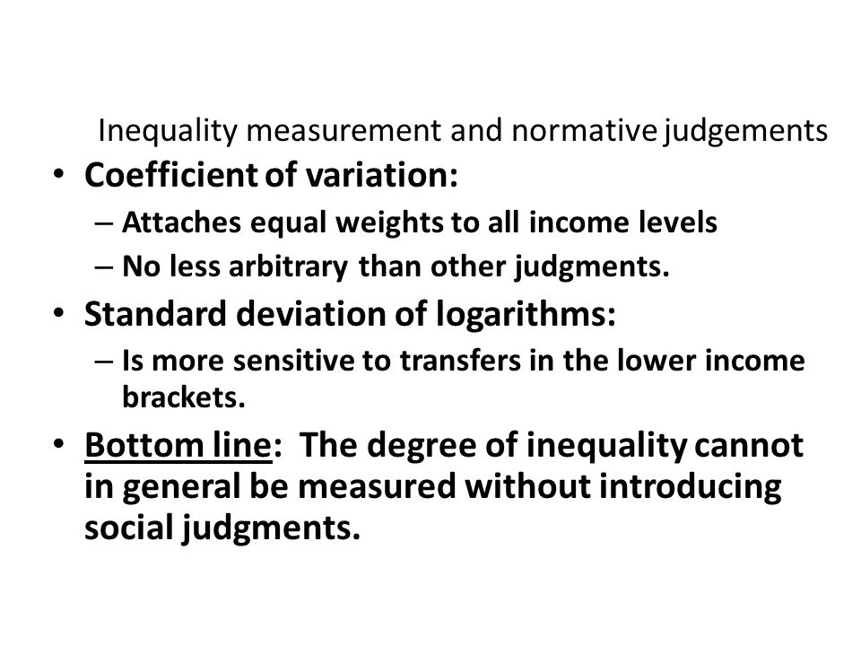 Inequality measurement and normative judgements