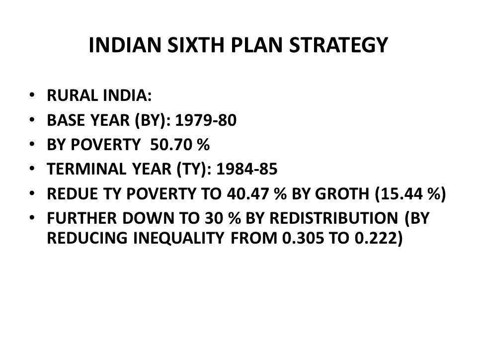 INDIAN SIXTH PLAN STRATEGY