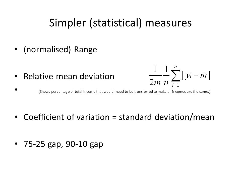 Simpler (statistical) measures