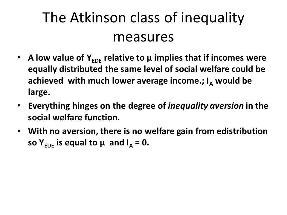 The Atkinson class of inequality measures