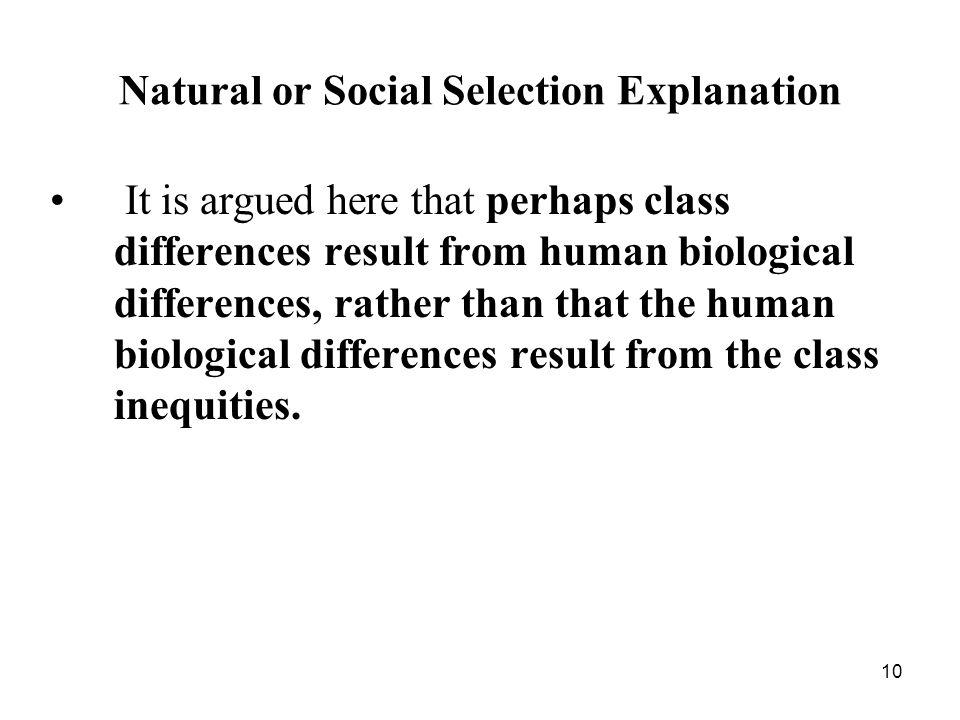 Natural or Social Selection Explanation