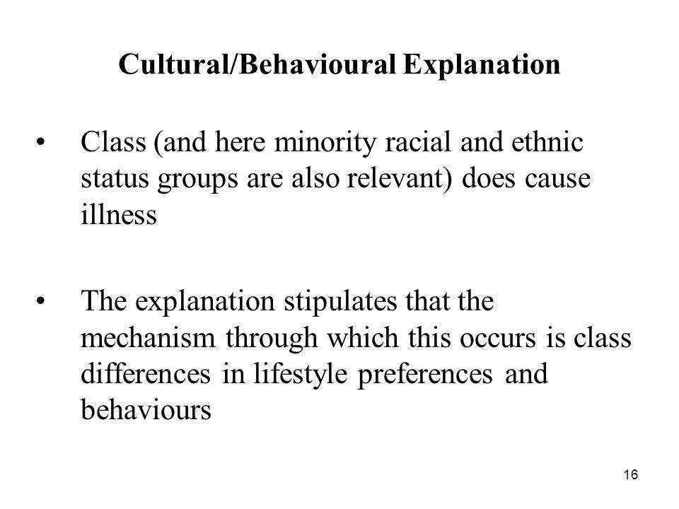Cultural/Behavioural Explanation