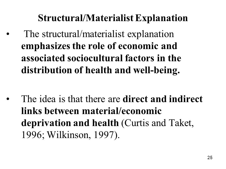 Structural/Materialist Explanation