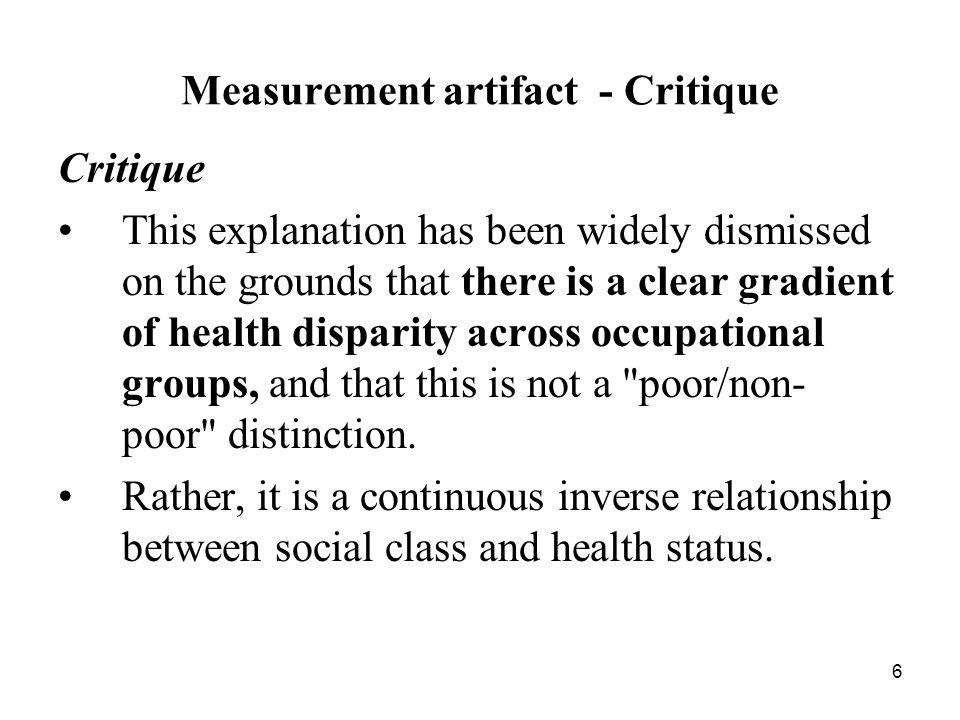 Measurement artifact - Critique