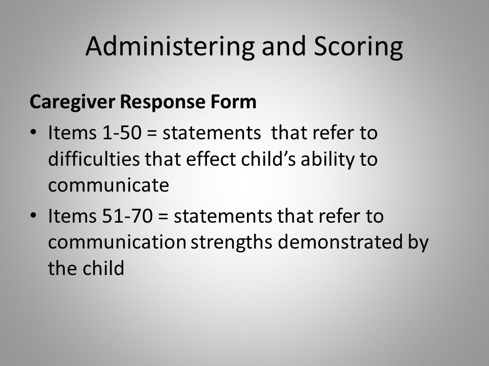 Administering and Scoring