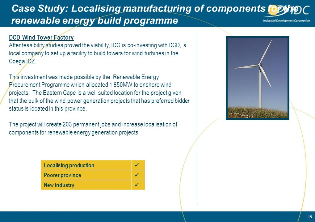 Case Study: Localising manufacturing of components for the renewable energy build programme