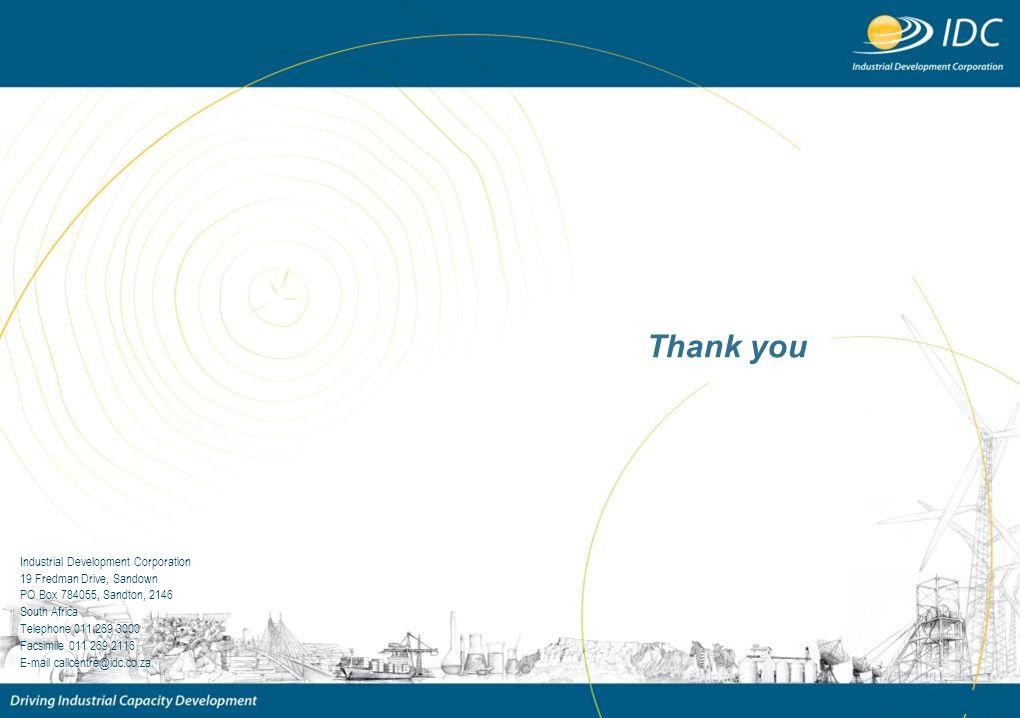 Thank you Industrial Development Corporation 19 Fredman Drive, Sandown