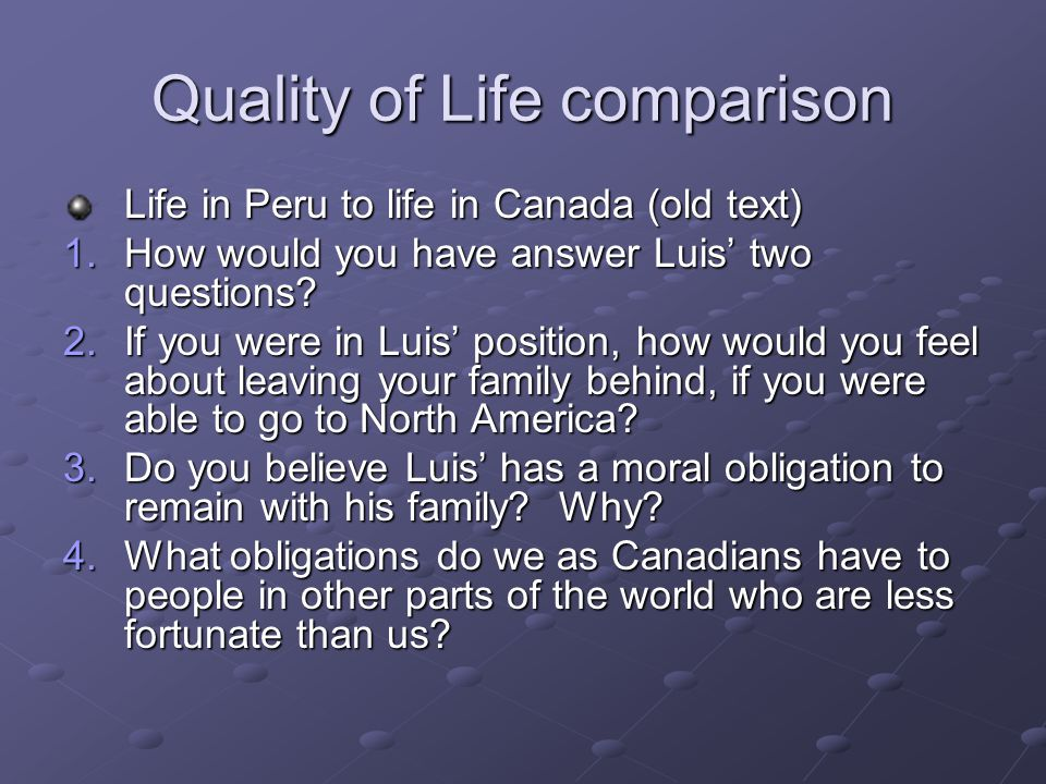 Quality of Life comparison