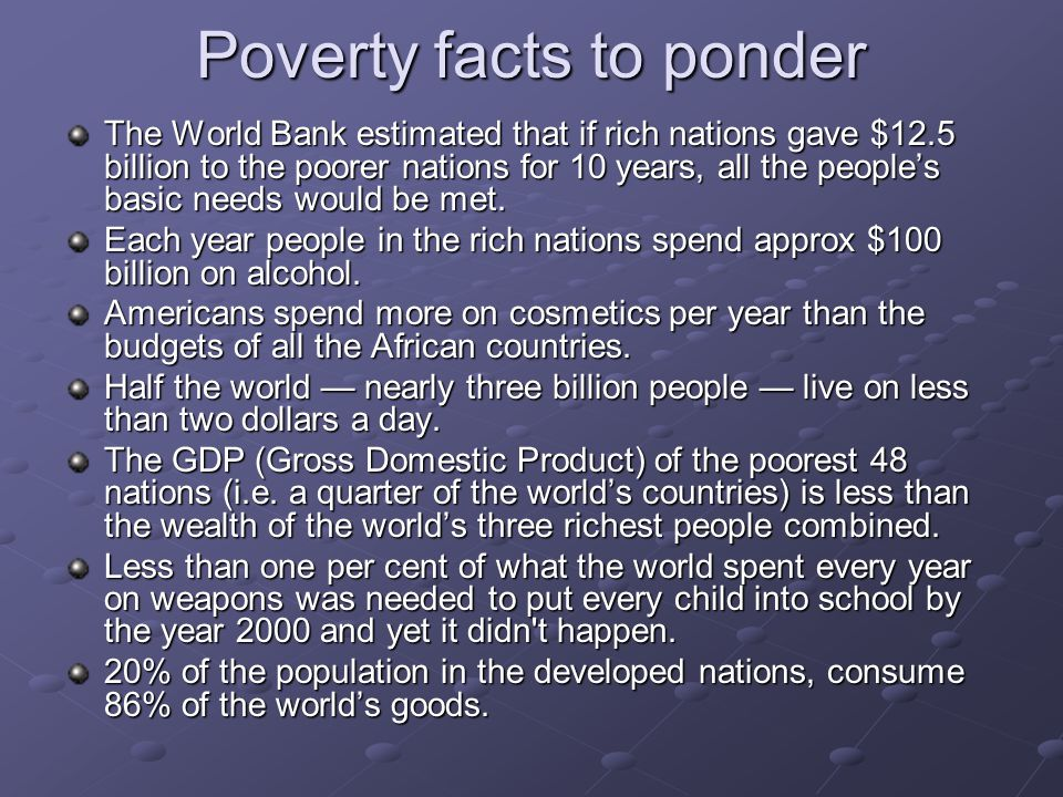 Poverty facts to ponder
