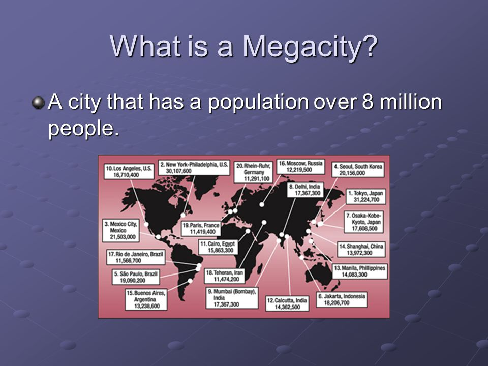 What is a Megacity A city that has a population over 8 million people.