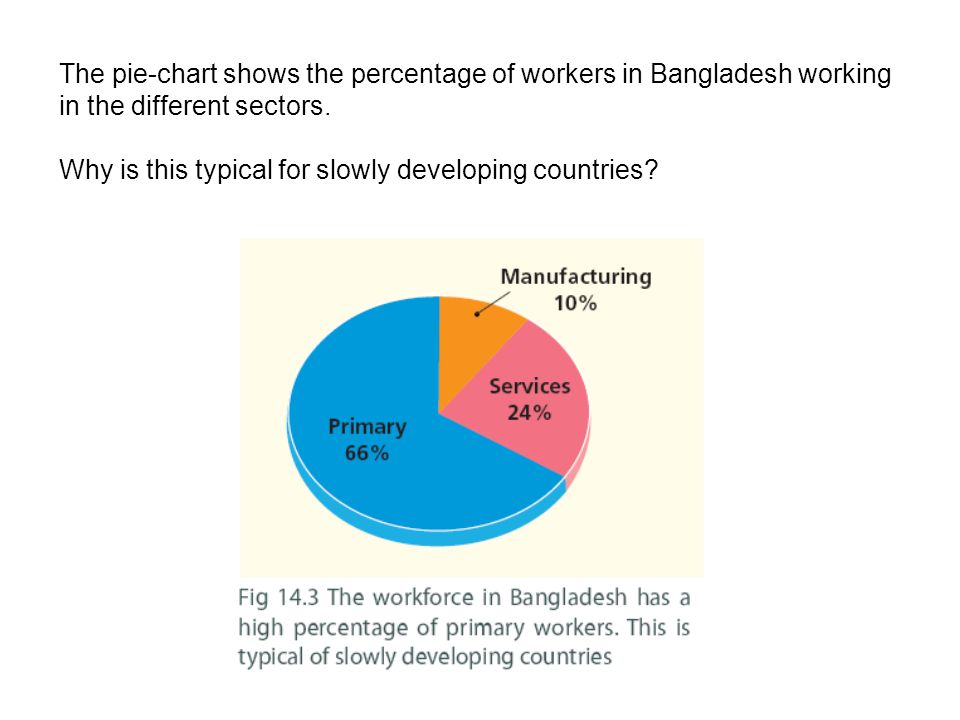The pie-chart shows the percentage of workers in Bangladesh working in the different sectors.
