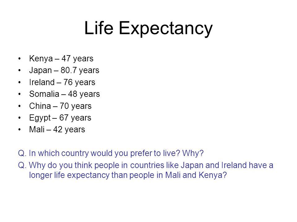 Life Expectancy Kenya – 47 years Japan – 80.7 years Ireland – 76 years