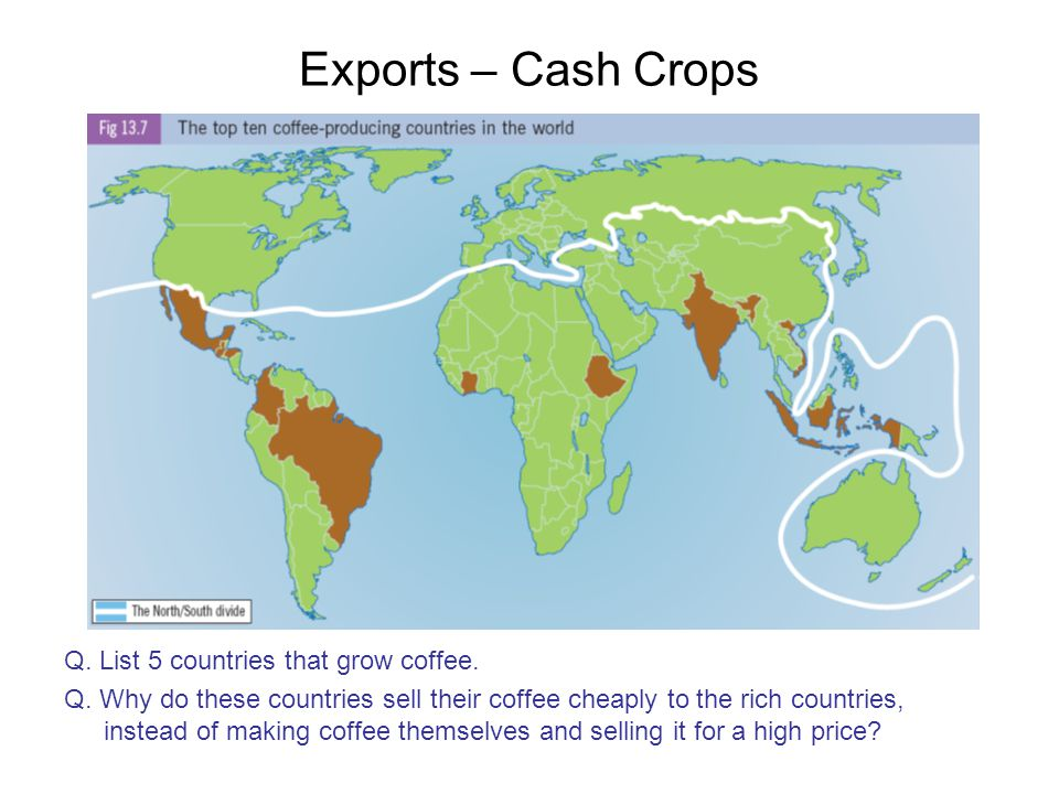 Exports – Cash Crops Q. List 5 countries that grow coffee.