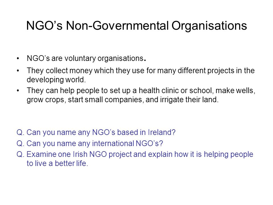 NGO's Non-Governmental Organisations