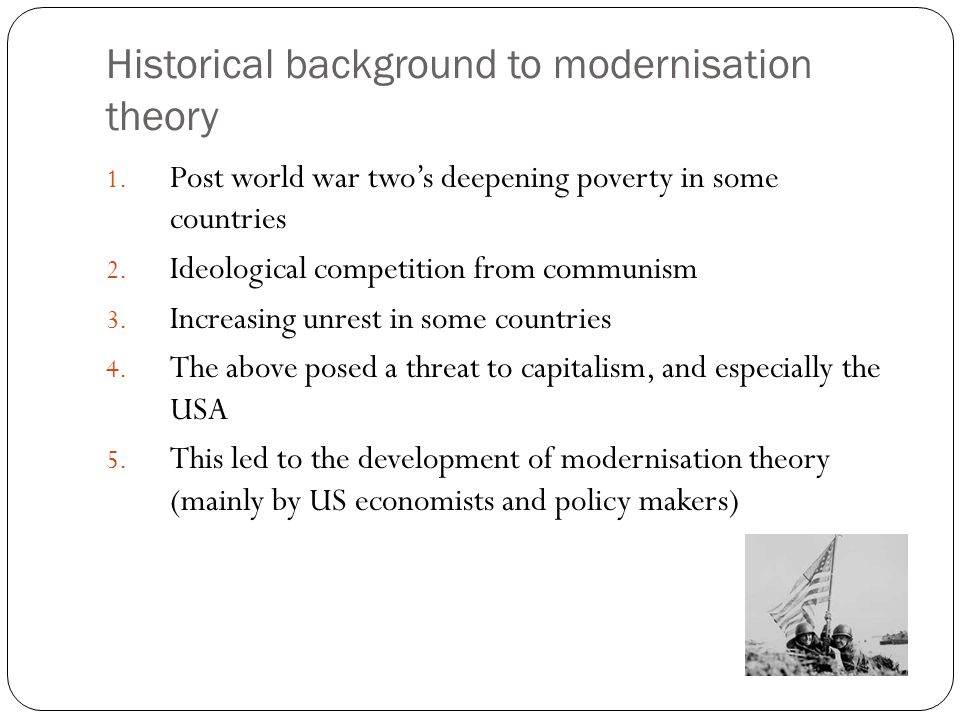 Historical background to modernisation theory