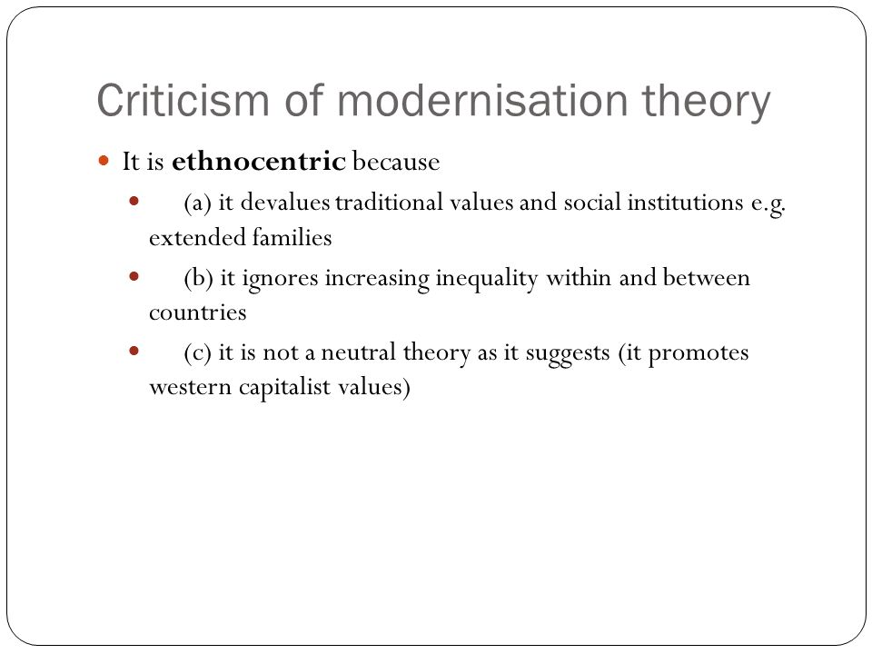 Criticism of modernisation theory