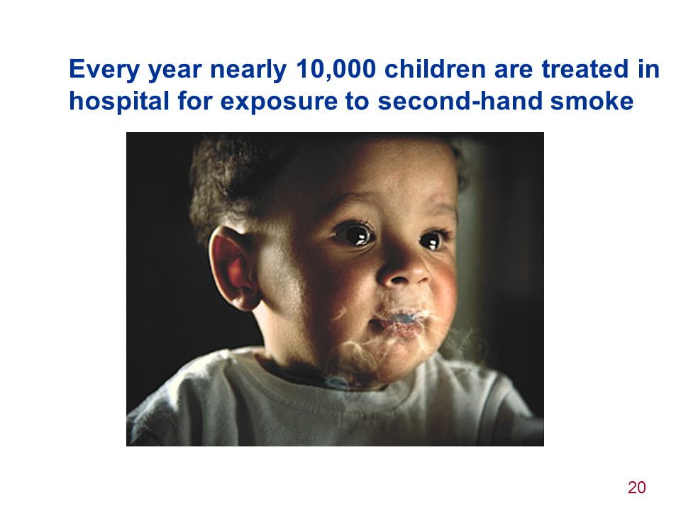Every year nearly 10,000 children are treated in hospital for exposure to second-hand smoke